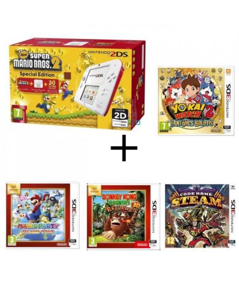 Nintendo 2DS + New Super Mario Bros 2 + Donkey Kong Country + Mario Party Island Tour + Yo-Kai Watch 2 Fantômes Bouffis + STEAM