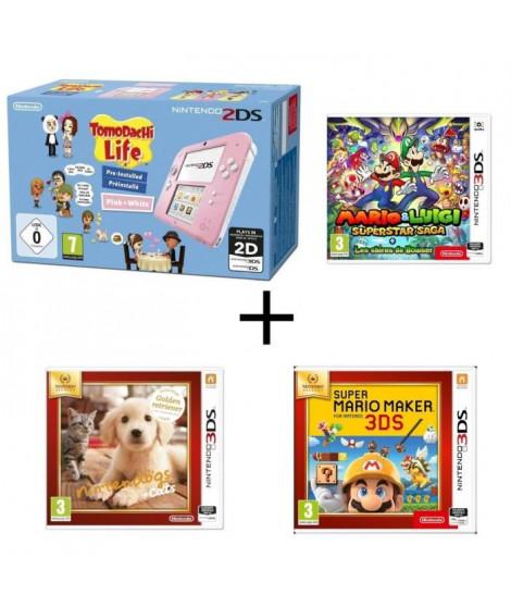 Nintendo 2DS Tomodachi Life + Mario & Luigi : Superstar Saga + Les sbires de Bowser + Super Mario Maker + Nintendogs + Cats G…