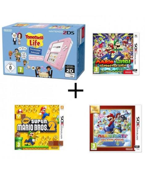 Nintendo 2DS Tomodachi Life + Mario & Luigi + Les sbires de Bowser + Mario Party Island Tour + New Super Mario Bros 2