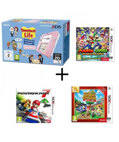 Nintendo 2DS avec Tomodachi Life + Mario & Luigi : Superstar Saga + Les sbires de Bowser + Mario Kart 7 + Animal Crossing New…