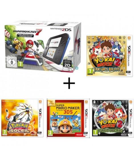 Nintendo 2DS + Mario Kart 7 + Yo-Kai Watch 2 : Fantômes Bouffis + Esprits Farceurs + Pokémon Soleil + Super Mario Maker