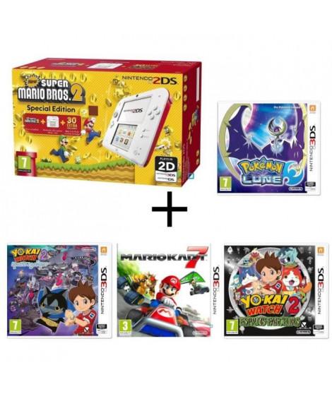 Nintendo 2DS + New Super Mario Bros 2 + Yo-Kai Watch 2 : Spectres Psychiques + Esprits Farceurs + Pokémon Lune + Mario Kart 7