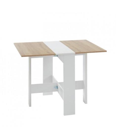 JUNO Table de séjour pliante 4 personnes - Décor chene et blanc - L 104 x 76 x 74 cm