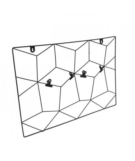 THE HOME DECO FACTORY Pele-mele filaire - Zigzag - 4 Pinces - 36X55cm - Noir