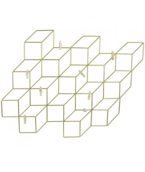 THE HOME DECO FACTORY Pele-mele - Cubes filaires Or - 8 Pinces - 46X42 cm - Noir