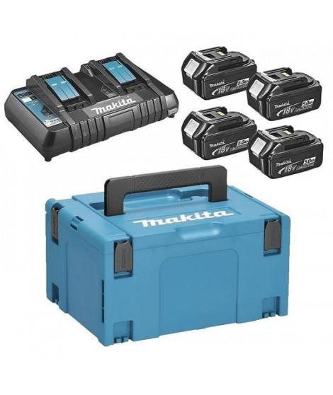 MAKITA Pack energie 18 V Li-ion - 4 batteries (5Ah) + 1 chargeur double en coffret Makpac - 197626-8