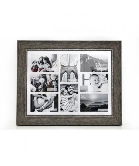 Pele-mele effet bois 8 photos - 10 x 15 cm - Naturel et blanc