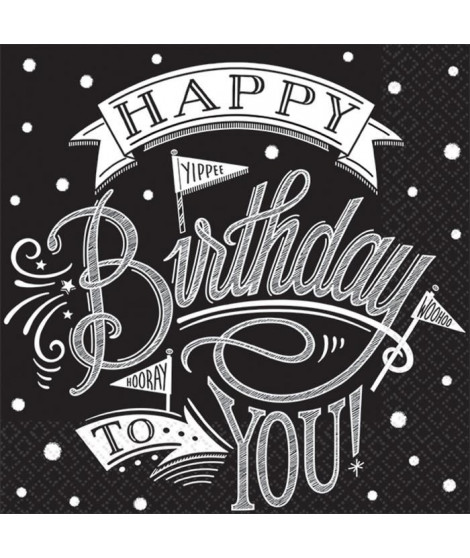 AMSCAN Lot de 36 Serviettes Hooray It's Your Birthday 25 x 25 cm