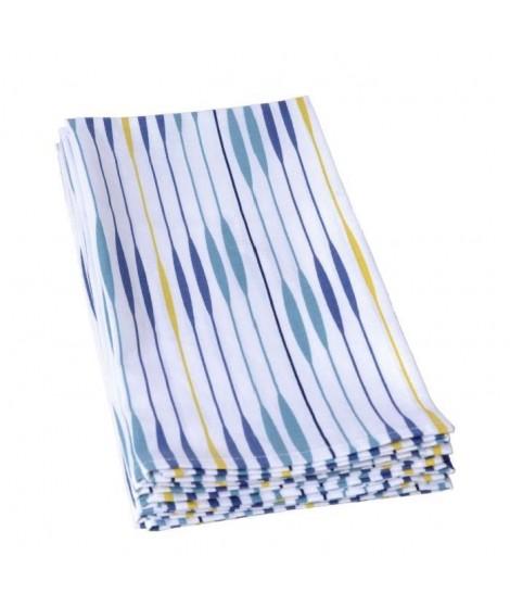 JULES CLARYSSE Lot de 4 torchons de cuisine Tears 50x70 cm bleu