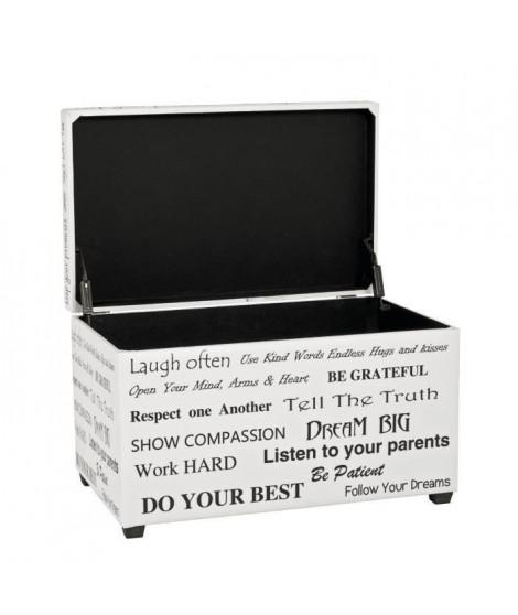 Coffre de rangement en simili blanc et noir - 65 x 40 x 42 cm