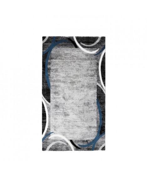 SUBWAY ENCADRE Tapis de couloir en polypropylene - 80 x 150 cm - Bleu