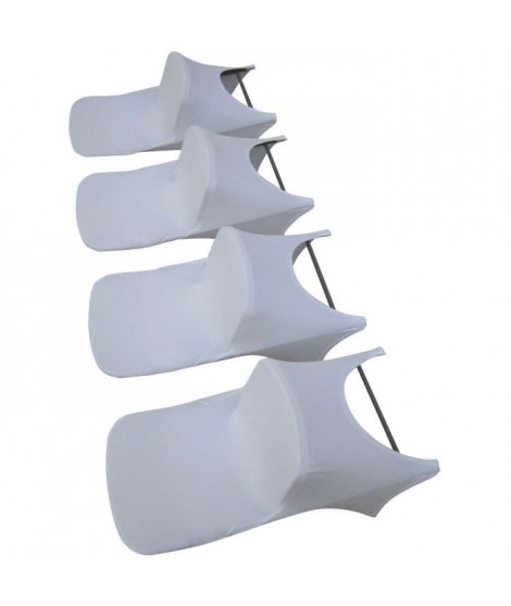 Lot de 4 couvertures de chaise pliante - Tissu : 10% spandex, 90% polyester, 190gsm - Blanc