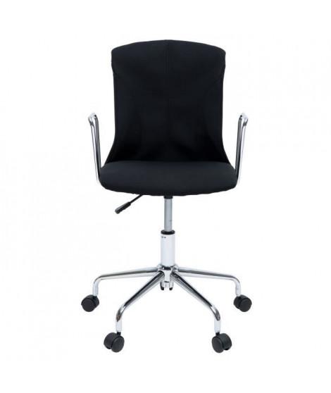 DERA Chaise de bureau - Tissu noir - Contemporain - L 52 x P 52 cm