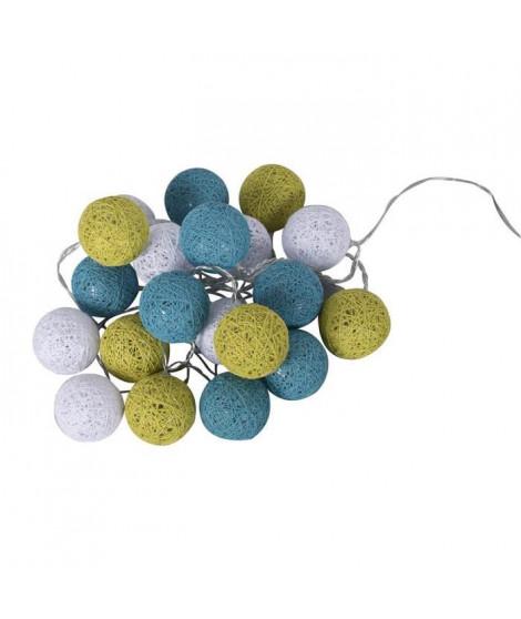 BUBBLE Guirlande lumineuse 20 lumieres - 30 cm - Turquoise, anis et blanc