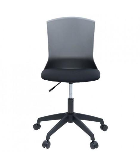 HERY Chaise de bureau - Tissu noir et gris - Contemporain - L 47 x P 52 cm