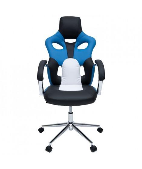 MASK Fauteuil de bureau - Simili noir, bleu et blanc - Urbain - L 73 x P 59 cm