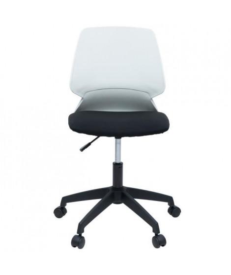 MIALY Chaise de bureau - Tissu noir et blanc - Contemporain - L 47 x P 49 cm