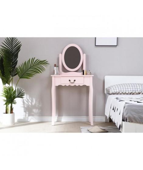 Coiffeuse avec Miroir + Tabouret - Décor rose et pied en bois - L 66 x P 36,5 x H 127