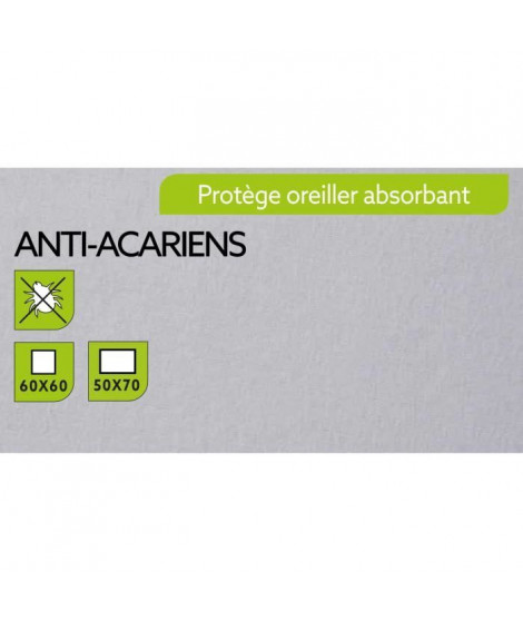 TODAY Protege Oreiller Absorbant Anti-Acariens 60x60cm - 100% Coton