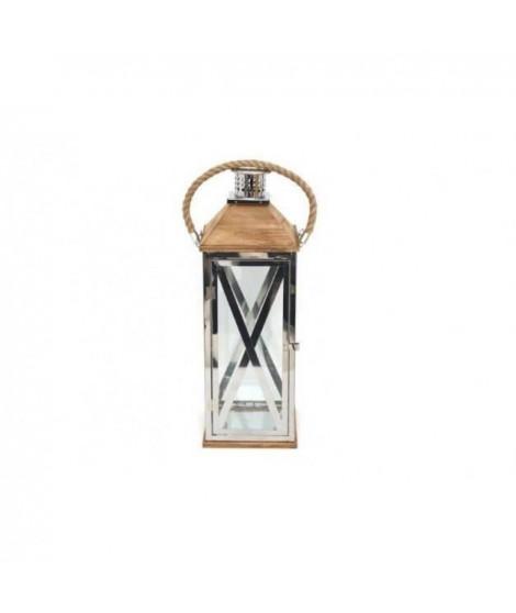 Lanterne métal et bois - 15 x 39 cm