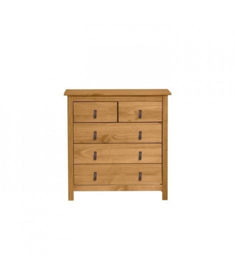 ALOUETTE Commode 3 tiroirs - Décor chene et poignées simili - L 79 x P 40 x H 80 cm