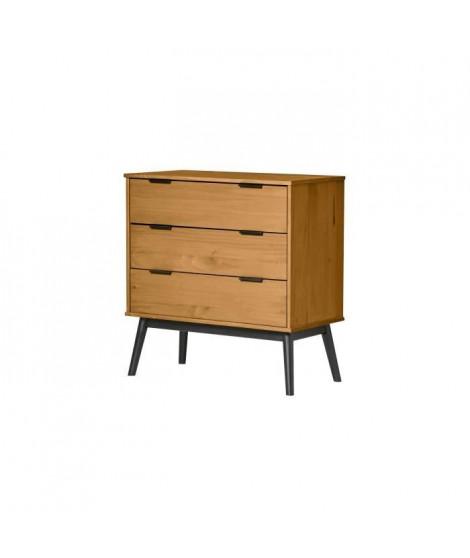 MANILA Commode 3 tiroirs - Décor chene et pieds noir - L 80 x P 40 x H 82 cm