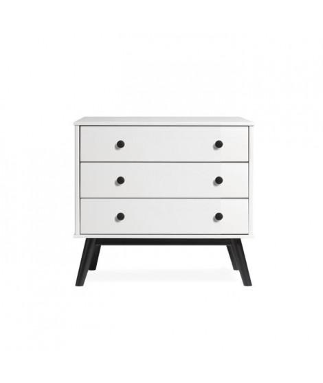 CLEMENCE Commode 3 tiroirs - Décor blanc et pieds noir - L 80 x P 40 x H 82 cm