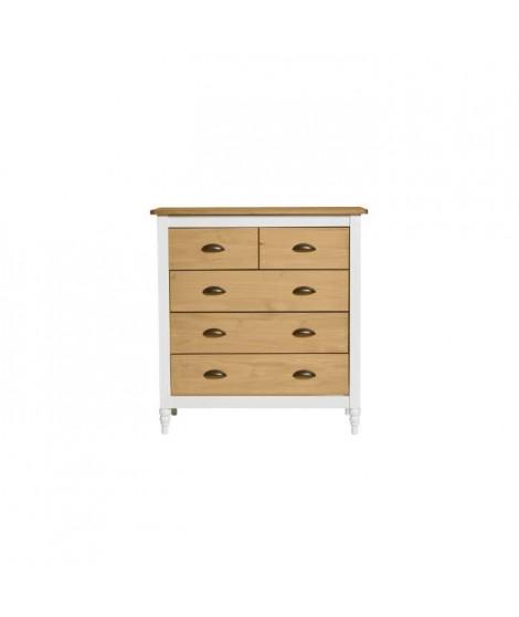 IRENE Commode 3 tiroirs - Décor blanc ciré - L 79 x P 40 x H 83 cm