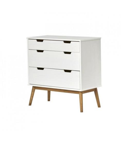 HAVANA Commode 2 tiroirs - Décor chene et Blanc - L 80 x P 40 x H 82 cm
