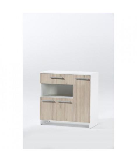 FLORENCE - Desserte micro-onde décor chene et blanc - L 80cm