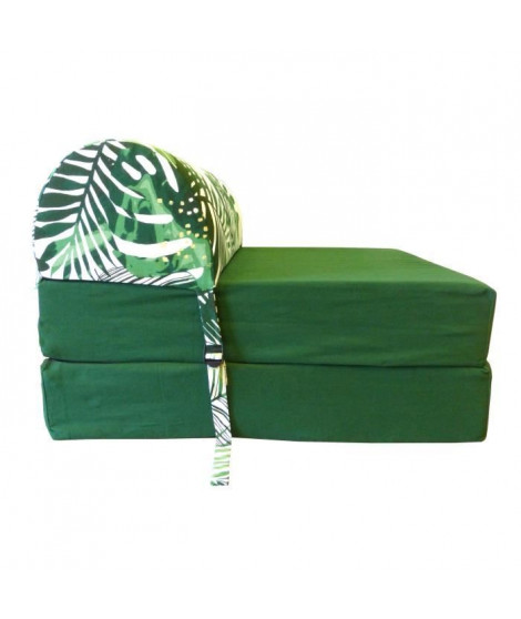 HIBA Chauffeuse 1 place Paradise - Tissu Vert - Style ethnique - L 58 cm