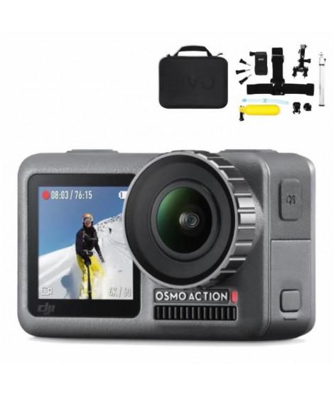 DJI Osmo Action Caméra Sport numérique 4K étanche - Noir + Jivo Kit d' accessoires GoGear 6-in-1 pour Action cam