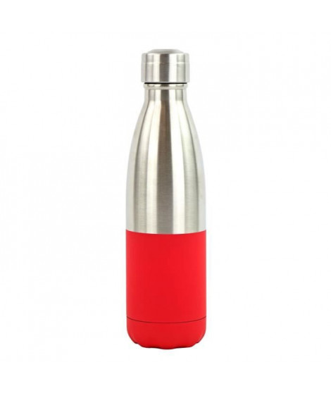 YOKO DESIGN Bouteille isotherme Duo soft - Rouge et inox - 500 ml