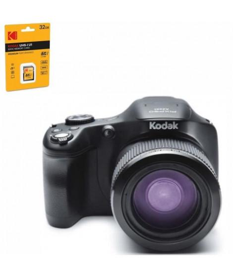APPAREIL PHOTO NUMÉRIQUE KODAK PIXPRO NOIR AZ651-BK + KODAK UHS1 U1 Carte mémoire SDHC-32GB offerte