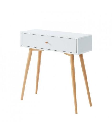 ANNETTE Console 1 tiroir - Style scandinave - Décor bois et blanc - L 80 x P 29,5 x H 80 cm