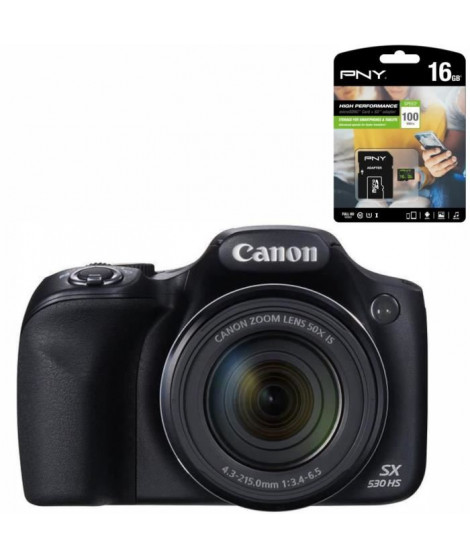 CANON POWERSHOT  SX530 HS Bridge Noir Appareil photo Zoom X50 + PNY Carte Micro SD 100Mo 16Go