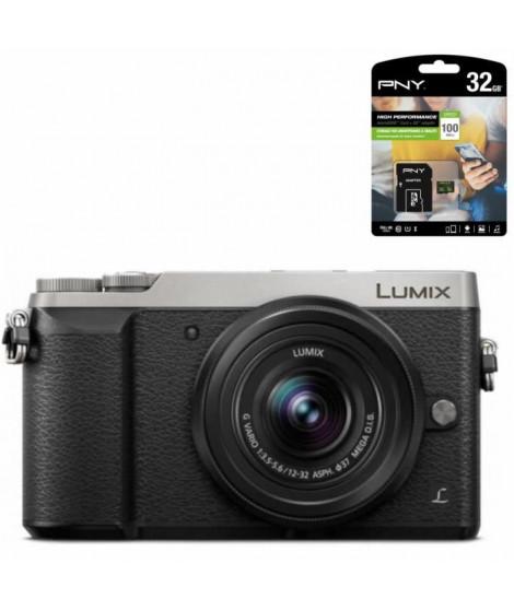 PANASONIC Lumix GX80 Appareil photo Hybride 16 Mp - Optique 12-32mm - Argent et Noir + PNY Carte Micro SD 100Mo 32Go