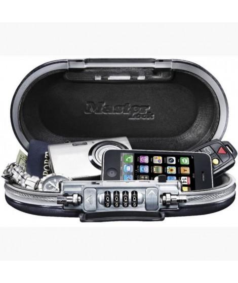 MASTER LOCK Mini-coffre de rangement portable pour voyage avec câble de sécurité - Noir