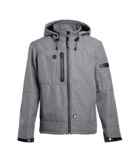 NORTH WAYS Veste Softshell Flores - Mixte - Gris Chiné / Noir