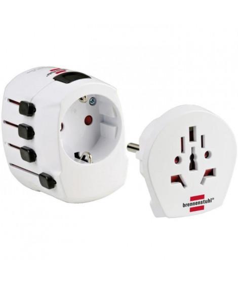 BRENNENSTUHL Adaptateur de voyage BWA + (convient a tous les appareils, tres complet, fusible intégré), Blanc