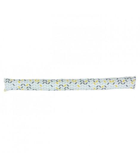 Boudin de porte 100% coton imprimé MISTIGRI - 90x10 cm - Gris, jaune et blanc