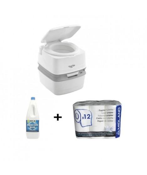 THETFORD Porta Potti Qube PP 165 WC Chimique Portable + THETFORD Liquéfiant WC Chimique Aqua Kem 2L + Papier toilette WC chim…