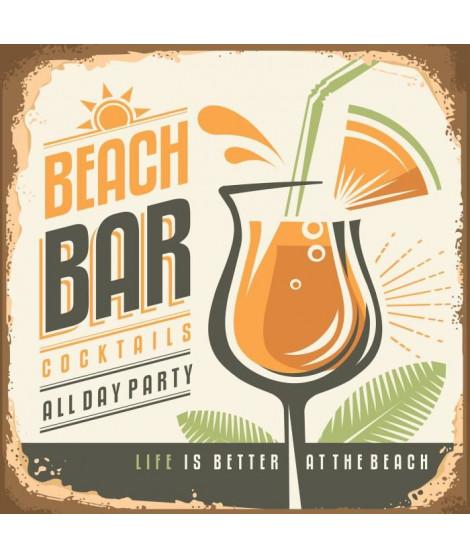 Panneau déco Beach Bar - 20x20 cm - MDF - Orange, vert et marron