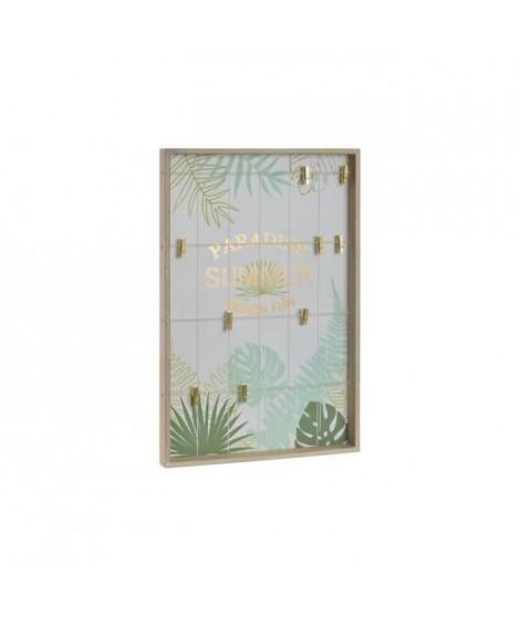 Porte-photos mural Corde en bois - 40 x 4 x 60 cm - Marron naturel