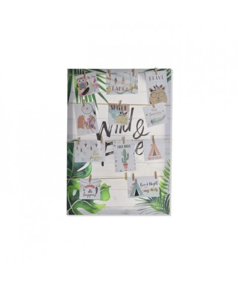 Porte-photos Tropical en toile et corde - 50 x 70 x 2,5 cm - Multicolore