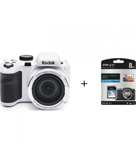 Pack KODAK AZ421 Appareil photo numérique - Blanc + Carte mémoire SDHC 8 Go