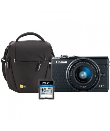 Appareil Photo Hybride CANON EOS M100 24 Mpx - Noir + EF-M 15-45 mm IS STM+ SD 16 Go + Sacoche Case Logic