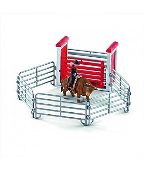 Schleich Figurine 41419 - Animal de la ferme - Rodéo avec un cowboy