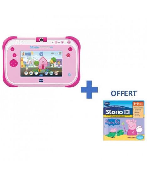 """VTECH - Console Storio Max 2.0 5"""" Rose - Tablette Éducative Enfant 5 Pouces + 1 Jeu Peppa Pig OFFERT"""