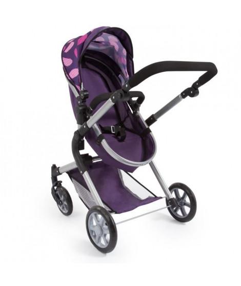 BAYER Landau pour poupée Neo Star prune avec sac a bandouliere et panier d'achat intégré réglable - convertible poussette